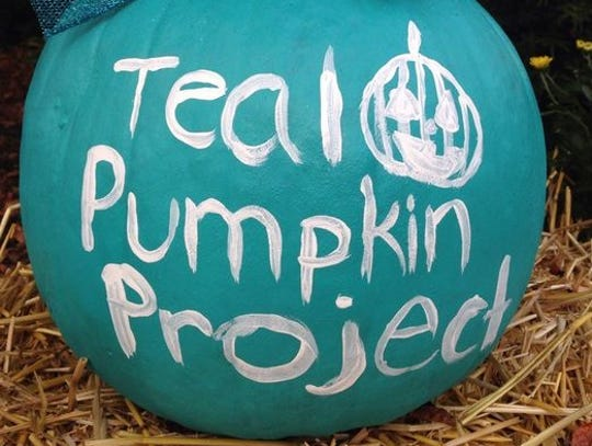 Teal pumpkins at Sue Melenchuk's house.