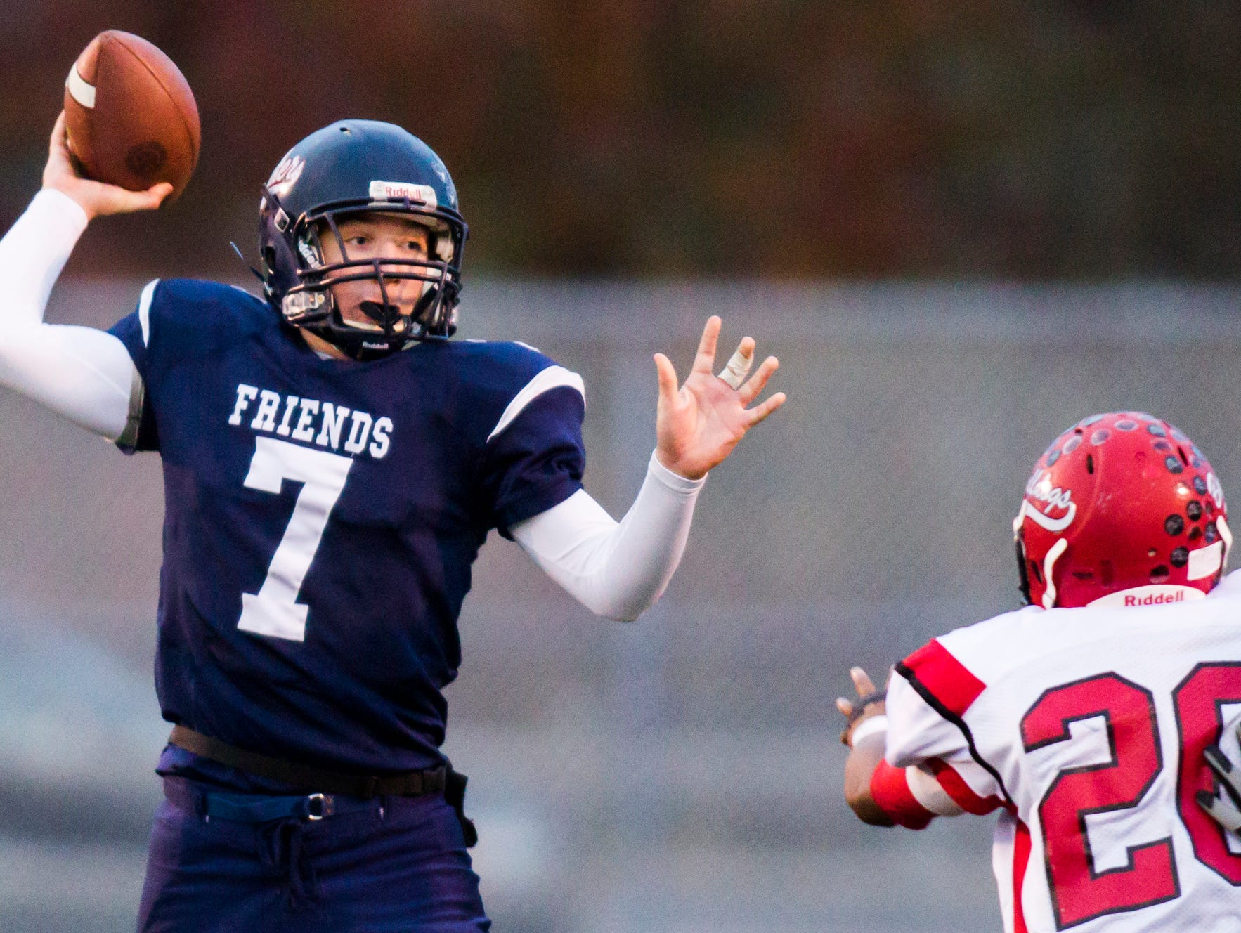 Quarterback Justin Beneck, shown against Laurel in last year's DIAA Division II semifinals, has helped Wilmington Friends to a 7-0 start this season.
