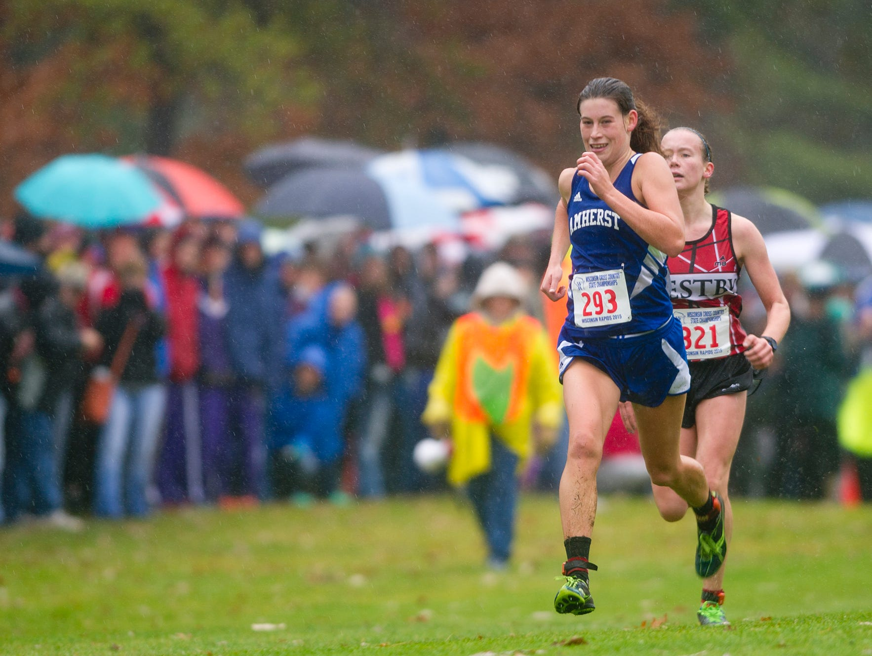 Amherst's Alissa Niggemann, left, races past Westby's Elena Schmidt to the finish line to place first in the Division 3 girls race at the 2015 State Cross Country Championships at the Ridges Country Club in Wisconsin Rapids, Saturday, Oct. 31, 2015.