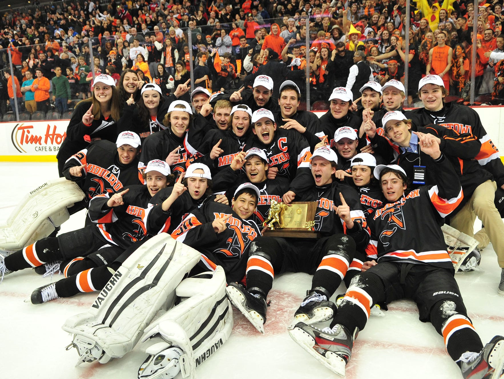 Middletown North players celebrate their win in the NJSIAA Public B final on Monday. Middletown North players celebrate their win. Middletown North wins the Public B state hockey final 5-4 against Ramsey at the Prudential Center.