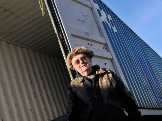 Once it's full of deer hides, Scott Johnson of rural Willmar will send this shipping container to the West Coast and then on to China.