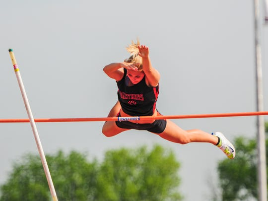 Alexis Baublitz competed in the Class AAA Girls Pole Vault on Day 2 of the District III Track and Field Championships held at Shippensburg University last May.