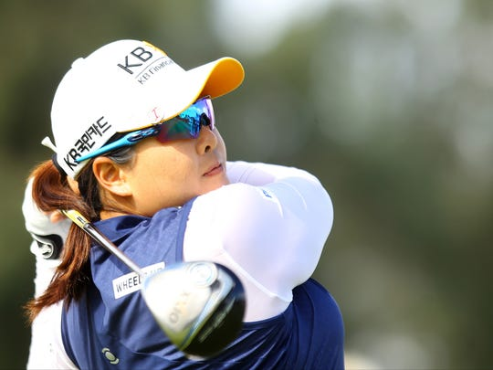2013 winner Inbee Park hits her drive on the second