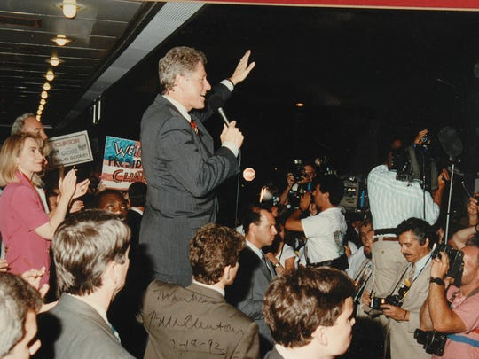 Presidential candidate Bill Clinton and vice presidential candidate Al Gore and their wives made a campaign stop in York in 1992 after the Democratic National Convention.