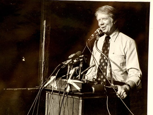 Georgia Gov. Jimmy Carter spoke at a campaign rally in Lewisberry in 1974, as part of his presidential campaign. Bill Schintz was there to document his appearance.