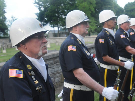 American Legion Minutemen Post 223 stand at guard at the Middle Spring Presbyterian Church annual Community Memorial Day Service in 2012.