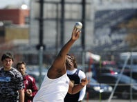 Chambersburg's Myles Braxton releases the shot put at the Tim Cook Invitational in April. He and teammate Kelton Chastulik will be contenders fot eh Mid Penn meet on Saturday.