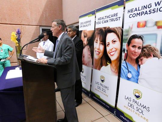 Don Karl, CEO of Las Palmas Medical Center, announces