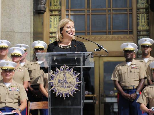 Nashville Mayor Megan Barry announces Marine Week details for Sept. 7-11 on Wednesday outside the downtown Nashville courthouse.