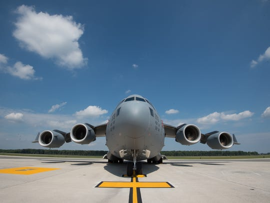 A C-17 Globemaster III on the flight line of Dover Air Force Base in Dover, Del.