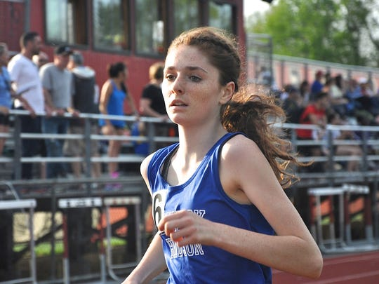 Avalouise Kennedy runs the anchor leg on Hen Hud's school record-setting 4x1,600 girls relay at the Somers Lions Joe Wynne Invitational. Photo from May 4, 2018.