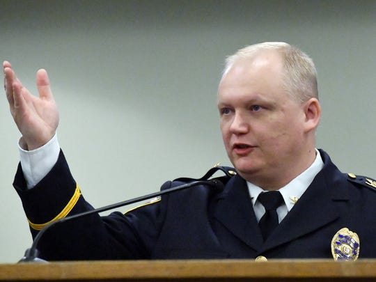 York City Police Chief Troy Bankert speaks during a