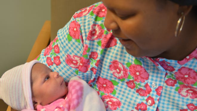 Mom La'Teshia Wesley and baby Ja-Nya, first to be born at the University of Mississippi Medical Center in 2016, are both doing great.