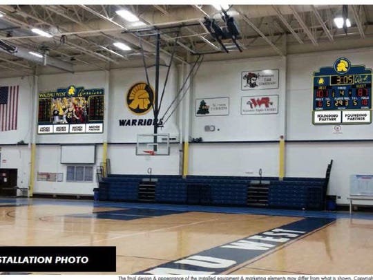 An artist rendering of the potential placement of a video scoreboard and LED scoreboard in the Wausau West Fieldhouse.