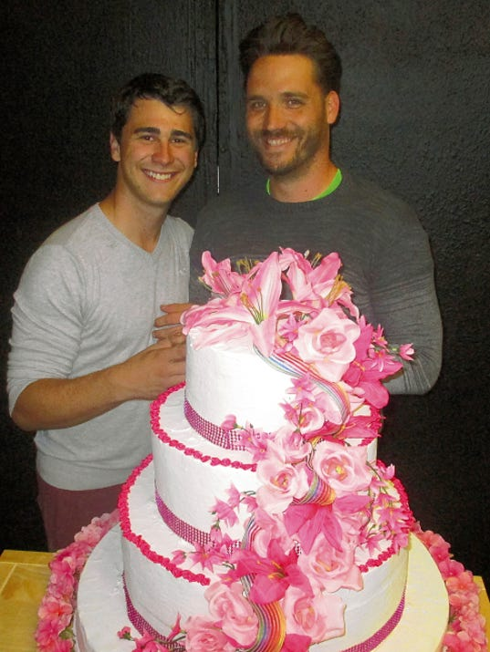 """Joel Fisk, left, and Joshua Rex Vanderhoof star as the grooms in """"My Big Gay Italian Wedding"""" opening today and running through Aug. 30 at Las Cruces Community Theatre. The play will be a focal point of the PFLAG Unity Festival from 5:30 to 9 p.m. today on the north block of Main Street downtown."""