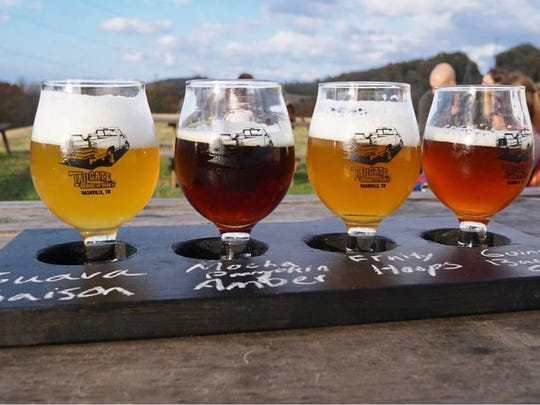 A sampler flight from Nashville-based TailGate Beer, one of Tennessee's 153 breweries.