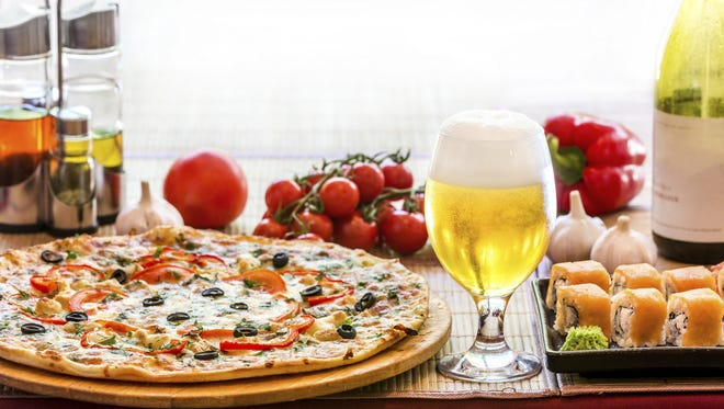 Beer, sushi and pizza.