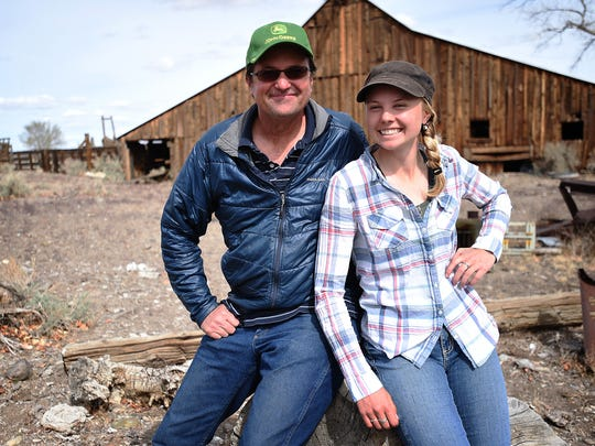 Rancher Steven Fulstone and his daughter Emily pose for a portrait on their property in the Smith Valley in Nevada on March 17, 2015.