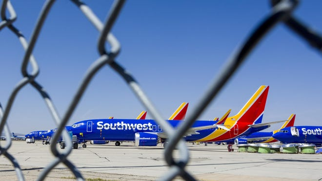 Grounded Boeing 737 Max 8 jets sit at Southern California Logistics Airport in 2019. The Victorville City Council on Tuesday, August 4, 2020, voted to reject and resolicit bids for a runway construction project after the offers received exceeded the city's estimated cost.