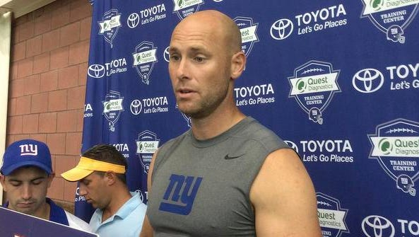 In this Aug. 18, 2016, file photo, New York Giants' Josh Brown speaks with reporters at NFL football teams training camp in East Rutherford, N.J.  Brown has issued a statement in which he admits abusing his former wife but he insists he never hit her. Brown issued the statement to ESPN on Tuesday, Oct. 25, 2016. Giants spokesman Pat Hanlon confirmed that the statement was from Brown, who was placed on the NFL commissioner's exempt list last week after authorities released emails and personal journals in which Brown admits to abusing his former wife.