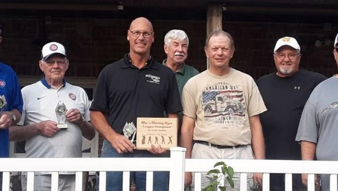 Mac's Monday Night League awards were presented on Saturday night at 19th Hole Restaurant at Baker Park.  Johnson Appliance won the postseason tournament for the men's golf league. From left, Ed Welgat, Tom DeWalt, Bob Johnson, John Jagers, Wayne Barth, Mike Vershaw and Troy Clementz. Not pictured, Jeff Carrasca.