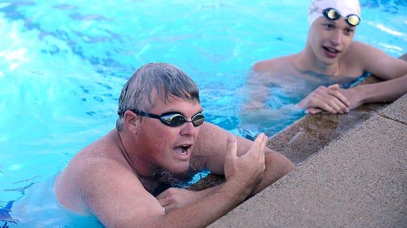 Stu Whitney talks about the swim challenge against Trever Brenner at Frank Olson Park.