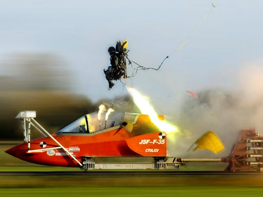 A Martin-Baker F-35 ejection seat test.