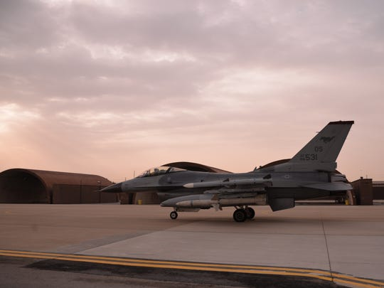 An F-16 Fighting Falcon assigned to the 36th Fighter