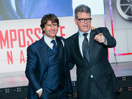 """Tom Cruise and director Christopher McQuarrie attend the """"Mission Impossible - Rogue Nation"""" Seoul Premiere at the Lotte World Tower Mall on July 30, 2015 in Seoul, South Korea.  (Photo by Han Myung-Gu/WireImage)"""