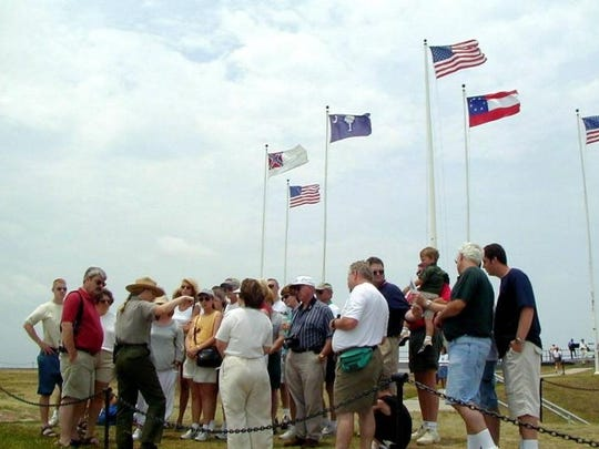 This archival photo shows the Civil War replica flags