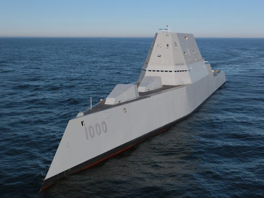 The Zumwalt at sea in December. Her two 155mm Advanced