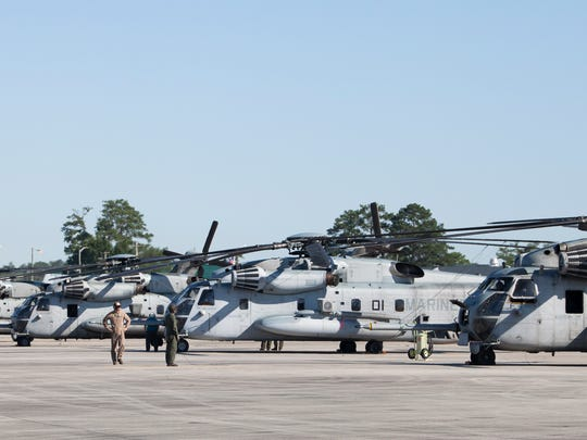 Several CH-53E Super Stallion helicopters from Marine
