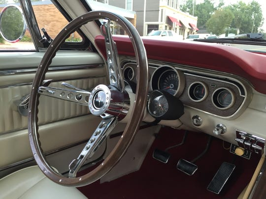 Interior of the Bredahl's 1965 Ford Mustang