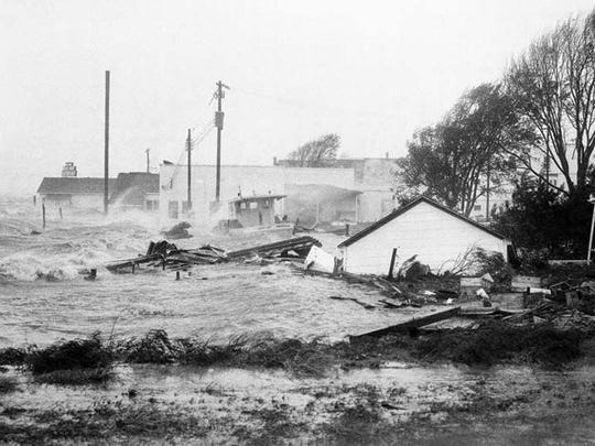 Flooding in Morehead City caused by Hurricane Hazel
