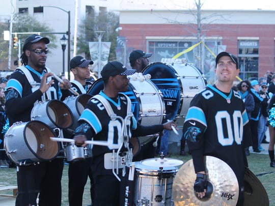 The Panthers' Purrcussion drumline gets ready to take the stage at a #PanthersPride rally.