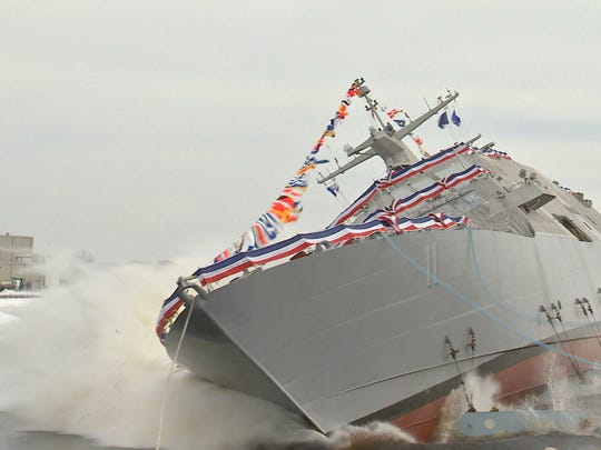 The USS Cleveland, like the USS Sioux City shown here being launched in January 2016, is a Freedom Variant Littoral Combat Ship.