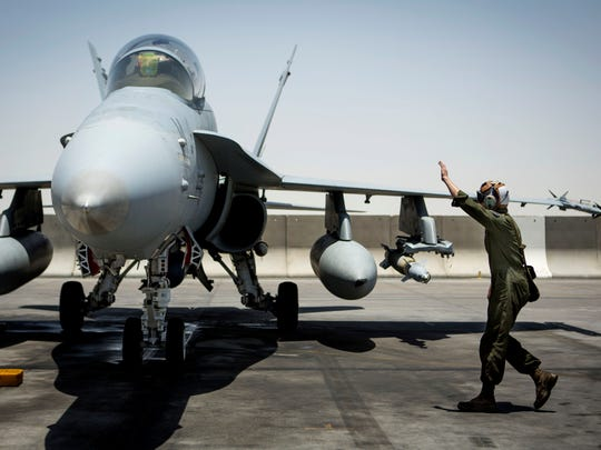 A Marine with Marine All-Weather Fighter Attack Squadron