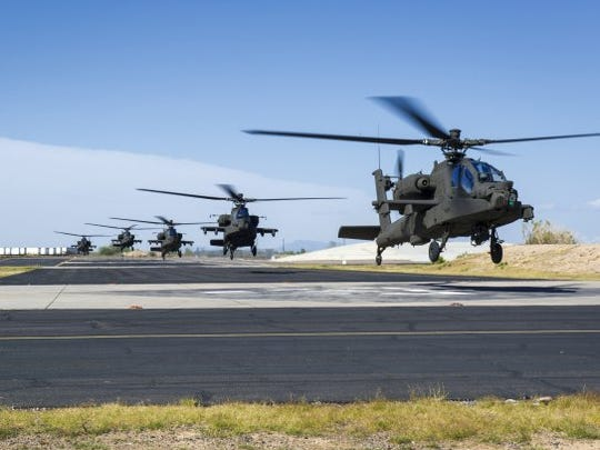 Army pilots near Mesa, Ariz., fly the new AH-64E Apache