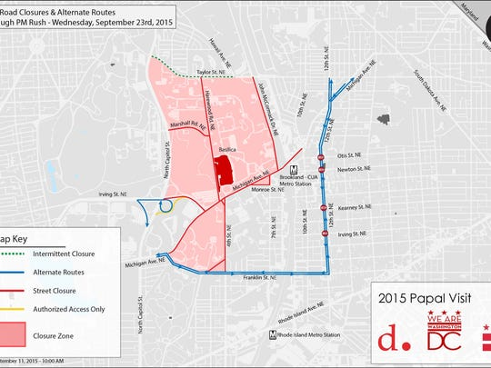 Complete List Of Road Closures In Dc For Pope Francis Visit