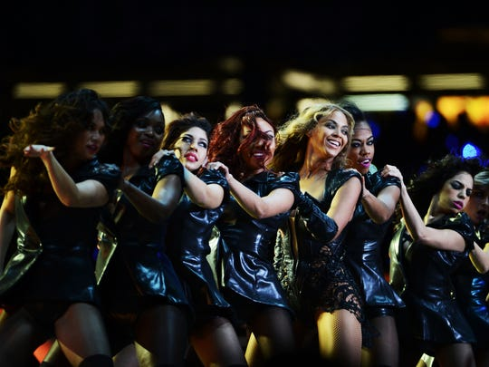 Beyonce and her dancers at the  Pepsi Super Bowl XLVII Halftime Show at the Mercedes-Benz Superdome on February 3, 2013 in New Orleans, Louisiana.