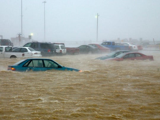 Hurricane Isabel flooded portions of Naval Station Norfolk in Virginia on Sept. 18, 2003.