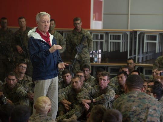 Secretary of the Navy Ray Mabus holds an all-hands
