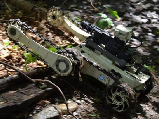 An anti-IED Micro Tactical Ground Robots (MTGR) from