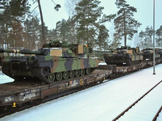 M1A2 Abrams tanks arrive at the Grafenwoehr Training