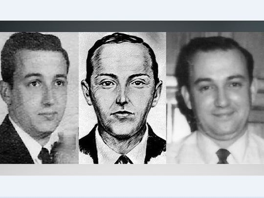 FBI composite of the D.B. Cooper suspect flanked by
