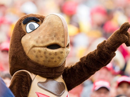 The Maryland Terrapin mascot cheers during a 2015 football game.