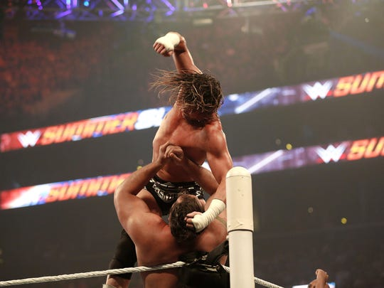Dolph Ziggler and Alexander Rusev battle it out at the WWE SummerSlam 2015 at Barclays Center of Brooklyn on August 23, 2015 in New York City.