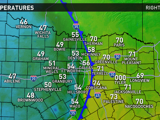 Weather Map North Texas.Weather Blog Cold Front Quickly Moves Through North Texas