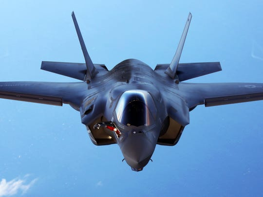 An F-35B joint strike fighter jet conducts aerial maneuvers