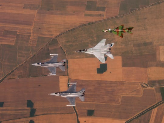 Two U.S. Air Force F-16 Fighting Falcons, from the
